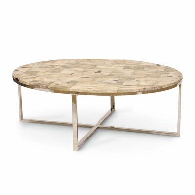 Mosaic Oval Petrified Wood Coffee Table Finish: Natural