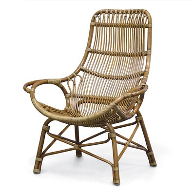 Retro Rattan High Back Arm Chair