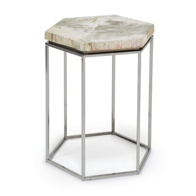 Hex Petrified Wood End Table