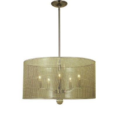 Simone 5-Light Drum Pendant Finish: Polished Nickel, Size: 11 H x 17 W x 17 D