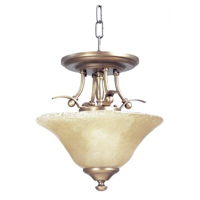Black Forest 2-Light Semi Flush Mount Finish: Antique Brass, Shade Color: Champagne, Size: 9 H x 13 W x 13 D