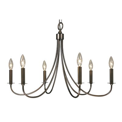 Makushin 6-Light Candle-Style Chandelier Finish: Satin Pewter