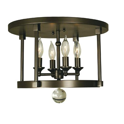 Compass 4-Light Flush Mount Color: Antique Brass