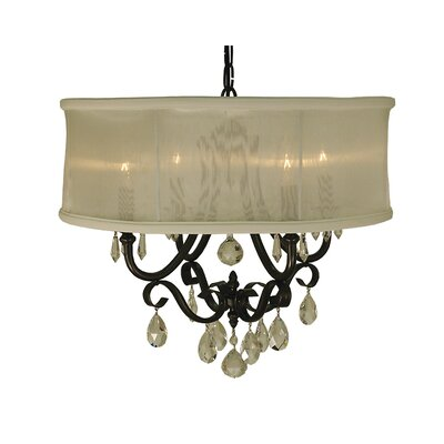 Liebestraum 4-Light Drum Pendant Color: Brushed Nickel, Shade Color: Sheer Cream