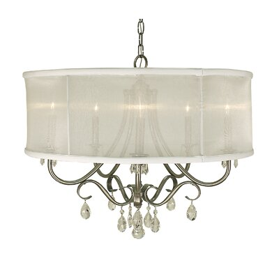 Liebestraum 5-Light Drum Chandelier Finish: Brushed Nickel, Shade Color: Cream