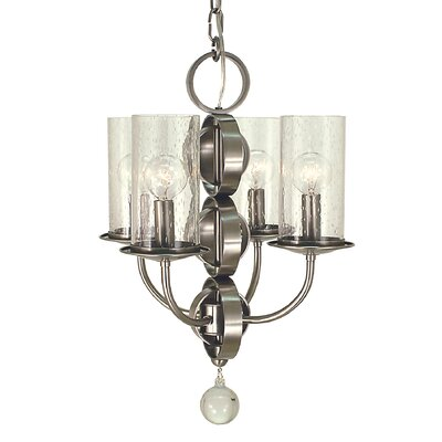 Compass 4-Light Candle-Style Chandelier Color: Brushed Nickel with Frosted Glass