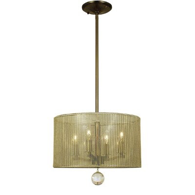 Simone 4-Light Drum Pendant Finish: Antique Brass