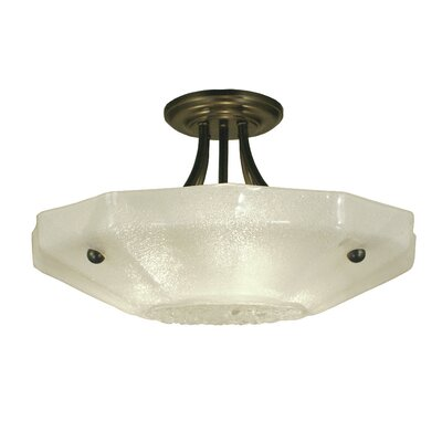 Veronique 3-Light Semi Flush Mount Finish: Antique Brass