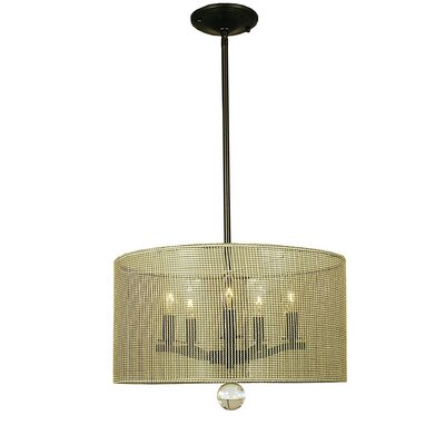Simone 5-Light Drum Pendant Finish: Antique Brass, Size: 11 H x 17 W x 17 D