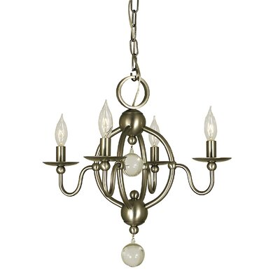 Quatrefoil 4-Light Candle-Style Chandelier Finish: Antique Brass