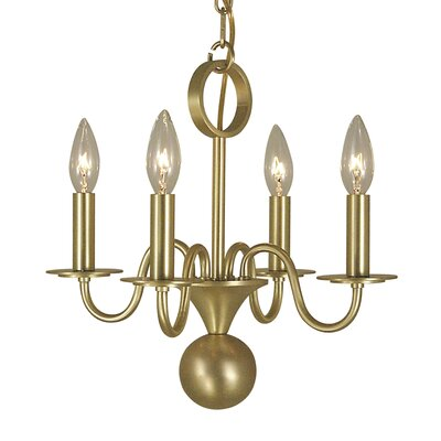 Jamestown 4-Light Candle-Style Chandelier Finish: Satin Brass