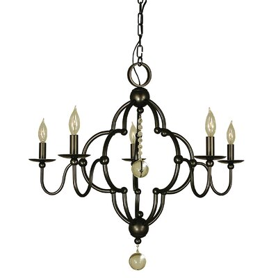 Quatrefoil 5-Light Candle-Style Chandelier Color: Antique Brass