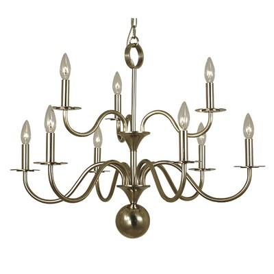 Jamestown 9-Light Candle-Style Chandelier Finish: German Silver