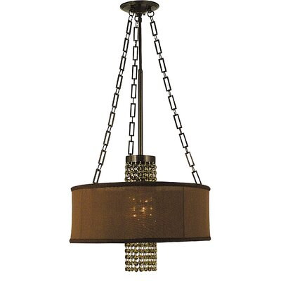 Angelique 1-Light Drum Pendant Size: 14 H x 18 W x 18 D, Finish: Polished Silver, Shade Color: Gold Sheer