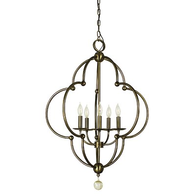 Quatrefoil 5-Light Foyer Pendant Color: Mahogany Bronze
