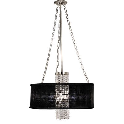 Angelique 1-Light Drum Pendant Finish: Polished Silver, Shade Color: Deep Eggplant Sheer, Size: 17.5 H x 24 W x 24 D
