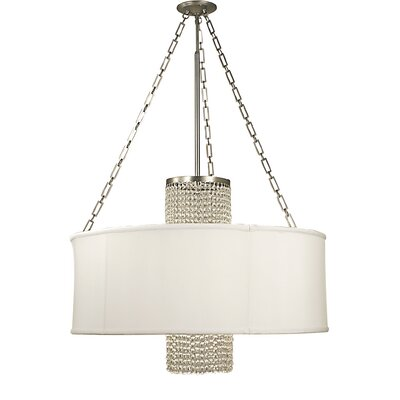 Angelique 4-Light Drum Pendant Shade Color: Opaque White, Crystal Color: Clear, Finish: Satin Pewter