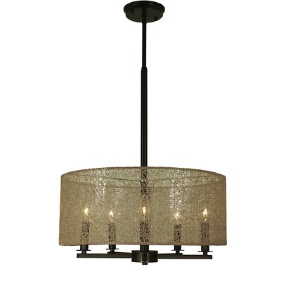 Chloe 5-Light Drum Pendant Color: Antique Brass, Size: 10.5 H x 22 W x 22 W