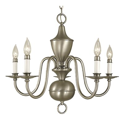 Jamestown 5-Light Candle-Style Chandelier Finish: Polished Brass