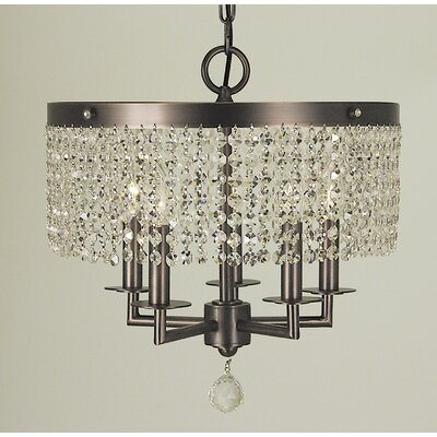 Princessa 5-Light Pendant Size: 16 H x 22 W x 22 D, Finish: Siena Bronze