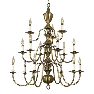 Jamestown 15-Light Candle-Style Chandelier Finish: Polished Brass