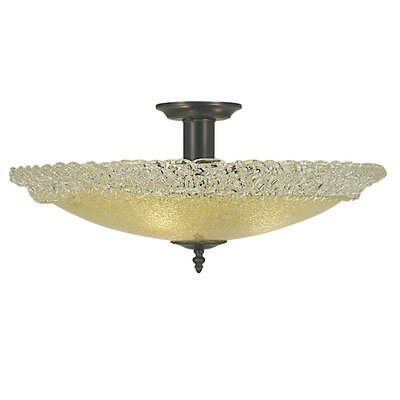 Brocatto 3-Light Semi Flush Mount Size: 10 H x 19 W x 19 D