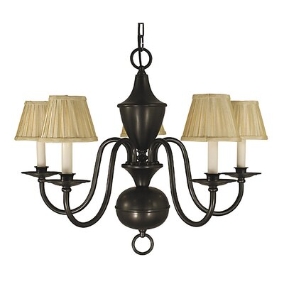 Jamestown 5-Light Shaded Chandelier Color: Polished Brass