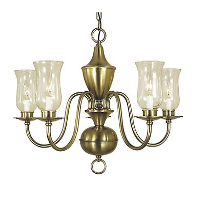 Jamestown 5-Light Candle-Style Chandelier Color: Polished Brass