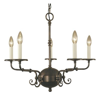Jamestown 5-Light Candle-Style Chandelier Finish: Antique Brass