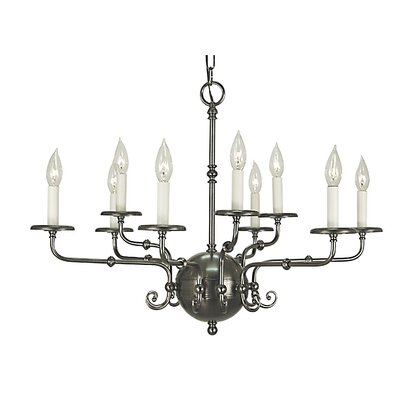 Jamestown 9-Light Candle-Style Chandelier Finish: Antique Brass
