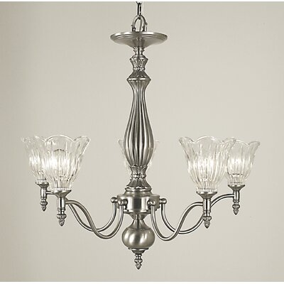 Geneva 5-Light Shaded Chandelier Finish: Brushed Nickel