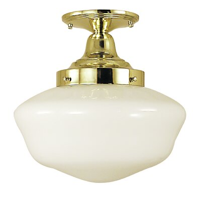 Taylor 1-Light Semi Flush Mount Finish: Antique Brass, Size: 10