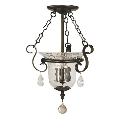 Carcassonne 3-Light Semi Flush Mount Color: Brushed Nickel