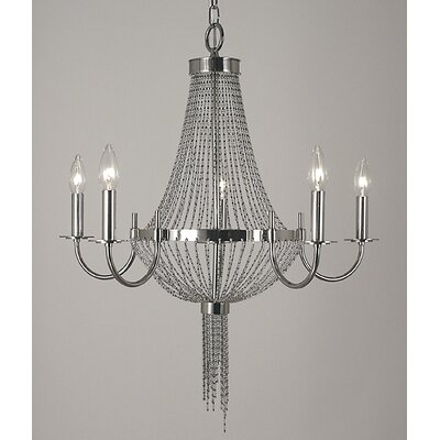 Arabesque 5-Light Candle-Style Chandelier Finish: Polished Brass
