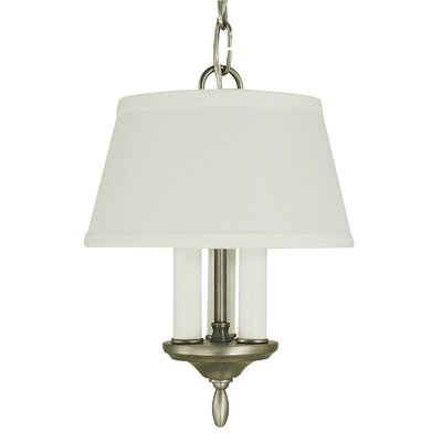 Taylor 3-Light Shaded Chandelier Finish: Antique Brass, Shade Color: Black