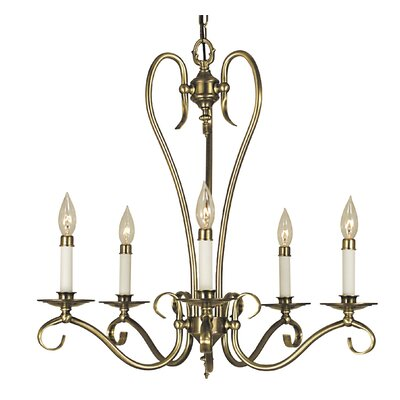 Black Forest 5-Light Candle-Style Chandelier Finish: Antique Brass