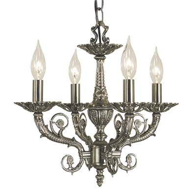 Napoleonic 4-Light Candle-Style Chandelier Finish: Antique Silver