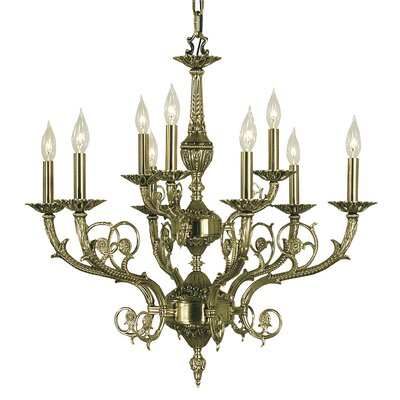 Napoleonic 9-Light Candle-Style Chandelier Finish: French Brass