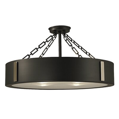 Oracle 4-Light Semi Flush Mount Color: Charcoal with Polished Nickel Accents