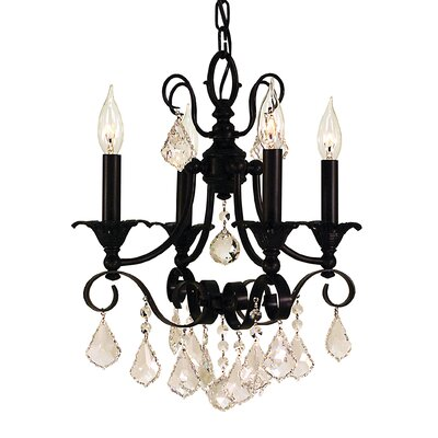 Liebestraum 4-Light Crystal Chandelier Color: Matte Black