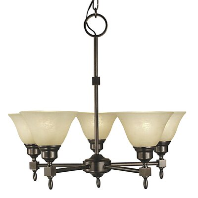 Taylor 5-Light Shaded Chandelier Finish: Antique Brass, Shade Color: Champagne