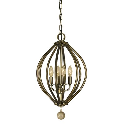 Dewdrop 4-Light Foyer Pendant Color: Antique Brass
