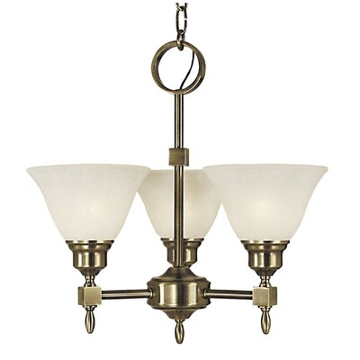 Taylor 3-Light Shaded Chandelier Color: Antique Brass, Shade Color: Amber