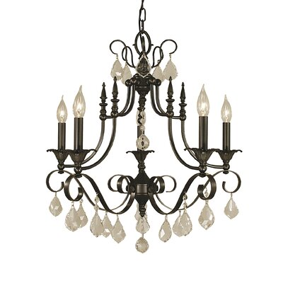 Liebestraum 6-Light Candle-Style Chandelier Finish: Matte Black
