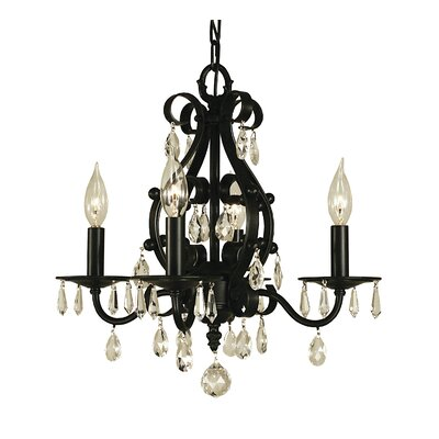 Liebestraum 4-Light Candle-Style Chandelier Finish: Matte Black