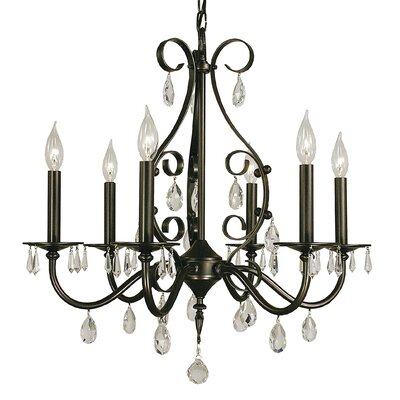 Liebestraum 6-Light Candle-Style Chandelier Finish: Mahogany Bronze