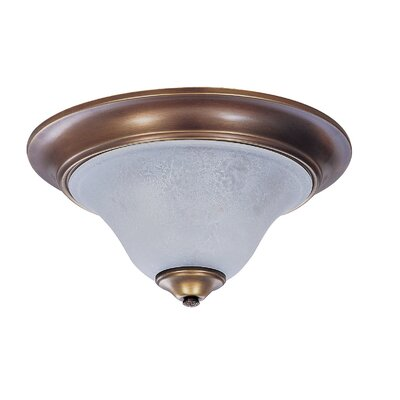 Black Forest 2-Light Flush Mount Finish: Siena Bronze, Shade Color: Champagne, Size: 8 H x 18 W x 18 D