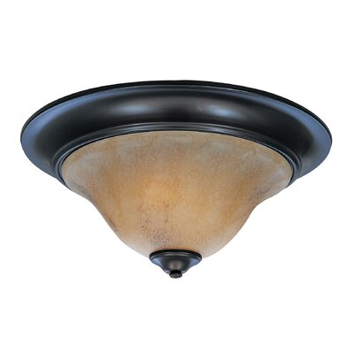 Black Forest 2-Light Flush Mount Finish: Matte Black, Shade Color: Amber, Size: 7 H x 14 W x 14 D