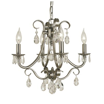 Liebestraum 4-Light Crystal Chandelier Finish: Brushed Nickel