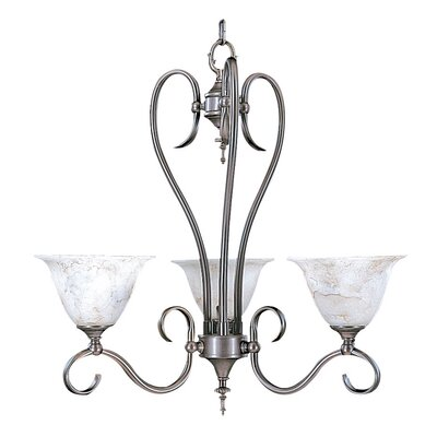 Black Forest 3-Light Shaded Chandelier Finish: Satin Pewter, Shade Color: Champagne, Shade Material: Marble Glass